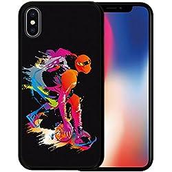 Funda iPhone X Funda Silicona Gel Flexible Jugador de Baloncesto 2, Carcasa Case TPU Silicona - Negro