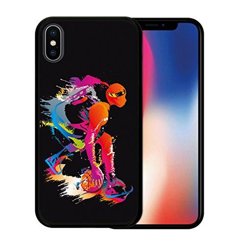 iPhone X Hülle, WoowCase Handyhülle Silikon für [ iPhone X ] Schwarzer Basketballspieler Handytasche Handy Cover Case Schutzhülle Flexible TPU - Schwarz Housse Gel iPhone X Schwarze D0060
