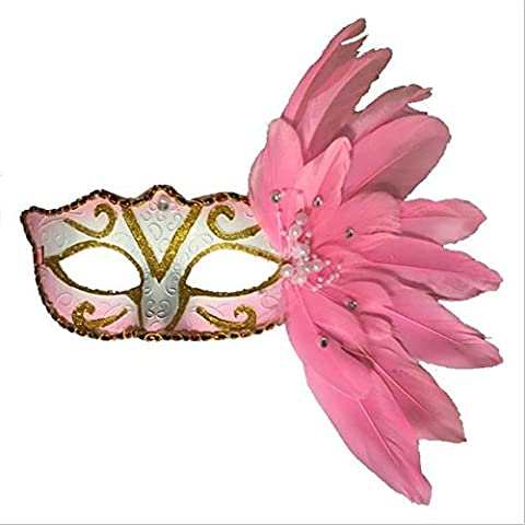 Uni Best Sparkling Halloween Mask With Feathers Venetian Masquerade Costume Ball Carnival Party Eye Mask Fancy Dress Party Princess Feather Masks (pink)