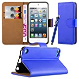 Apple iPod Touch 5th & 6th Generation Case - New Flip Wallet Book [Stand View] Premium Leather Case Cover With Screen Protector and Microfiber Polishing Cloth (Blue)