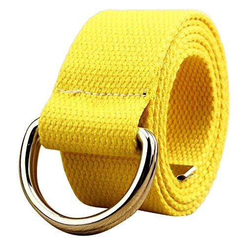 Cinturón amarillo de lona para mujer con hebilla metálica