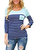 Search : Dearlove Striped 3/4 Sleeve O-nceklace Blouse Autumn T-Shirt Women Casual Top UK Size 6-24