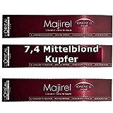 3x Loreal Majirel 7,4 Mittelblond Kupfer Creme Haarfarbe - 50ml