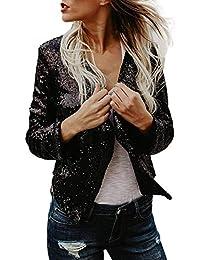 Donna Giacca Corto Eleganti Autunno Fashion Paillettes Cardigan Vintage  Festa Style Casual Asimmetrico Party Brillantini Maniche Lunghe… 6c02006a11c