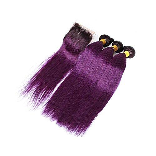Mila 3 Tissage Bresilienne Remy 8A en Lot Tie and Dye 1B/Voilet Cheveux Humain 100% Naturel Meches Lisse avec Lace Closure (20\