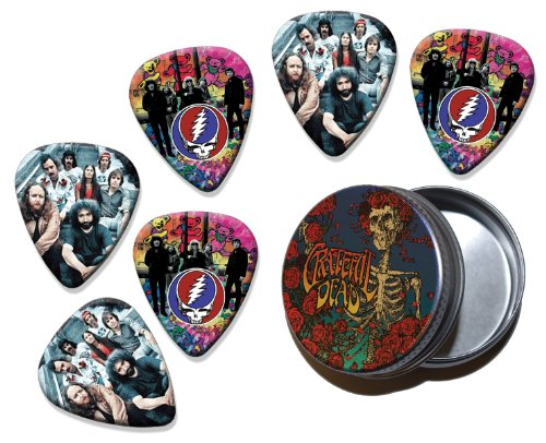 Grateful Dead Set of 6 Double Sided Loose Gitarre Plektrum Plektron Picks in Tin (Gitarren Pick Grateful Dead)