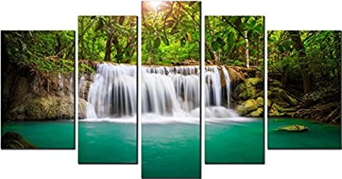 OBELLA New Wall Art Canvas Prints 5 Pieces ++Waterfall and Green River++ Framed With Inner Frames, Ready to Hang - 5 Panel Canvas Wall Art Multipart Canvas - Wall Art Picture, Canvas Picture, Decorative Picture Modern Contemporary Posters Oil Paintings Prints and Pictures Photo Image Wall Art Prints on Canvas for Home Bedroom Living Room Office Wall Decor Christmas Gifts Decoration