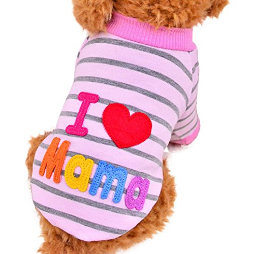 Hmeng Liebe Papa Mama Druck Striped Haustierbekleidung Kleine Puppy Kostüm Mode Bekleidung (L, Rosa)