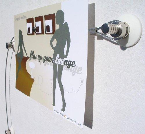 Flux-objects - fune porta-foto in acciaio con 20 calamite, lunghezza 2 m