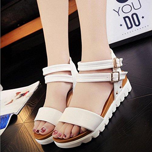 DM&Y 2017 ¨¦t¨¦ sandales ¨¤ bout ouvert ¨¤ double boucle chaussures plates imperm¨¦ables sandales ¨¤ fond ¨¦pais ¨¦tudiants White