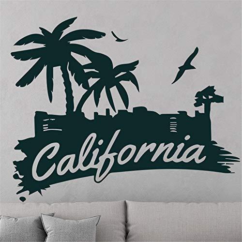 wlwhaoo Kokospalme Pflanze Wandaufkleber für Wohnzimmer Schlafzimmer Abnehmbare Vinyl Palmen Wandtattoos für Kinderzimmer Dekoration lila L 43 cm X 33 cm - Home-securi