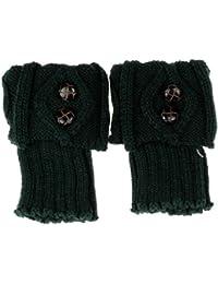RETUROM la moda de las mujeres del invierno calentador de la pierna del botón de arranque de punto de ganchillo Calcetines Topper Manguito CO