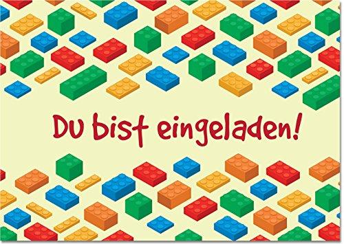 Gepard Solutions 12 Einladungskarten im Set zum Geburtstag/Kindergeburtstag mit Motiv Building Blocks und Bricks. Einladungen für Jungen und Mädchen mit Bausteinen