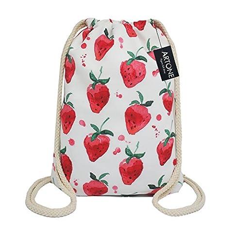Artone Strawberry Canvas Drawstring Bag Travel Daypack Sports Portable Backpack