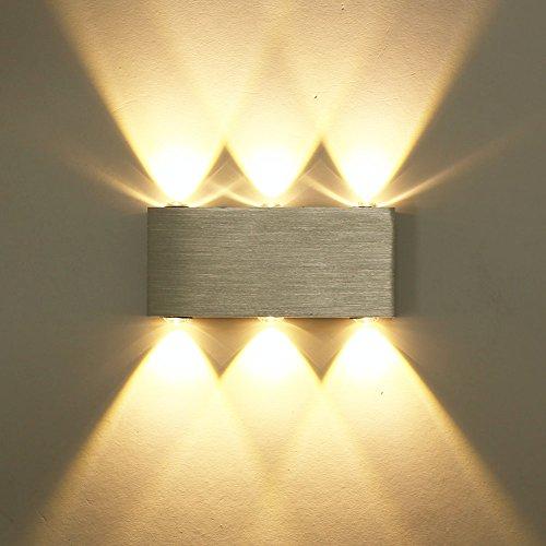 ETiME 18W LED Wandleuchte Innen Modern Up Down Wandlampe aus Aluminium für Wohnzimmer Schlafzimmer Treppenhaus Flur Warmweiß Flurlampe 2700K Aluminium (18W Warmweiß) -