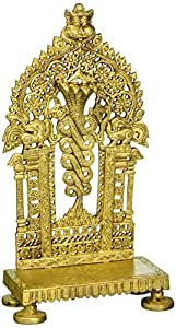 Kapasi Handicrafts Medium Brass Singhasan Or Seat Used In Temple For Pooja For Placing God Idols (5.5 x 3.5 x 10 Inches)