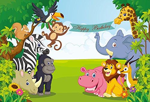 Muzi Jungle Safari Foto Hintergrund Baby Dusche Geburtstag Party Foto Booth Banner Hintergrund für Fotografie Tisch Dessert Requisiten 200x 150cm xt-6751