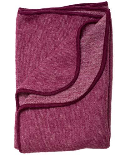 Cosilana, Kinder/Baby Decke Fleece, 80x100 cm, 60% Wolle (kbT), 40% Baumwolle (KBA) (80X100, Weinrot Melange)