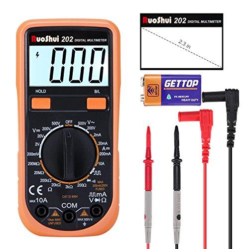Digital Multimeter, Ruoshui Manuell Bereichswahl Amperemeter Voltmeter Ohmmeter Maximal Reichweite DC 10 Amp DC AC 500 Volt 200 Mega Ohm mit 9V Batterie & Messleitungen
