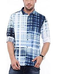 SHOWOFF Mens Blue Printed Casual Shirts