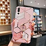 Uposao Custodia Compatibile con Huawei P20 Pro [Ring Holder] Marmo Modello Geometric Design Morbida TPU Custodia Glitter Case Kickstand Caso con Diamante Gomma Gel Backcover,Geometric Pink White
