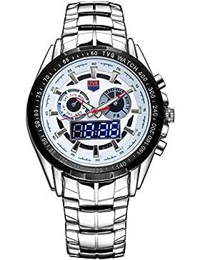 Herren Armbanduhr Casual Sport-Uhren, Uhr Digitaluhr Quarzuhr LED-Licht Digital Analog Sportuhr Wasserdicht Armbanduhr...