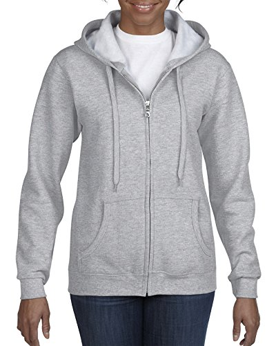 Gildan Damen Full Zip Hooded Sweatshirt Kapuzenpulli, Grau-Sport Grey, Mittel - Grey Hooded Full Zip Sweatshirt