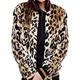 Preferential New Ieason Womans Leopard Thick Fur Collar Coat Faux Fur Zip Pocket Outwear Casual Cardigan
