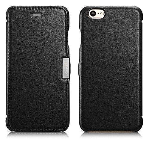 Luxus Tasche für Apple iPhone 6S und iPhone 6 (4.7 Zoll) / Case Außenseite aus Echt-Leder / Innenseite aus Textil / Schutz-Hülle seitlich aufklappbar / ultra-slim Cover / Farbe: Schwarz