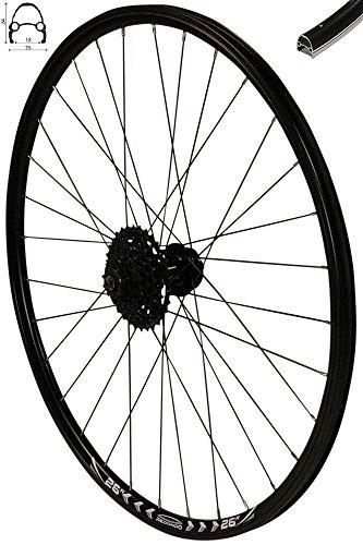 Redondo 26 Zoll Hinterrad Laufrad Felge Schwarz Disc + 8-Fach Shimano Kassette -