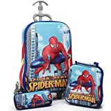 Kris toy Spider Man Hardshell Design Children's EXPANDABLE zip Trolley Bag and Travel School Bag for kids