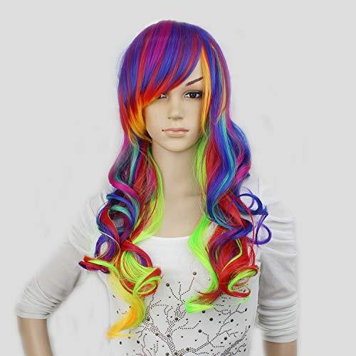 Rainbow Farbiges Kostüm - VGGFH Perücke Synthetische Schwarz Rot Highlights