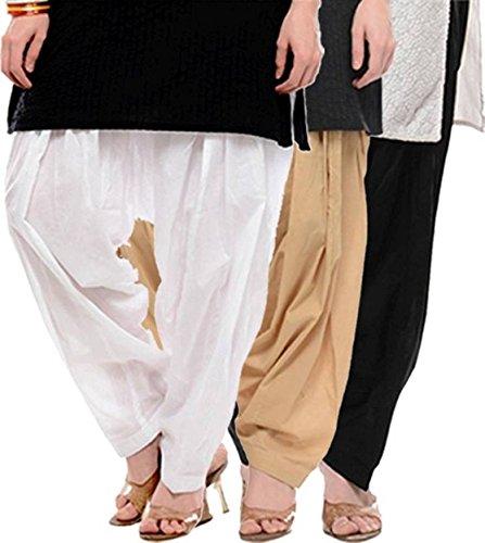bLACK MACYTraditional Patiala Salwar 100% Cotton Free Size (WHITE_BEIGE_BLACK)