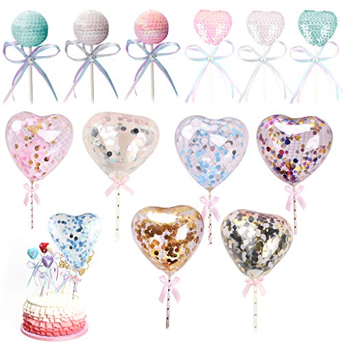Amycute 12 Stücke Konfetti Luftballons Kuchen Topper Herzförmige Pailletten Ballons Mini Cupcake Toppers Handmade für Party Kuchen Dekoration Hochzeit Geburtstag Deko. (12PCS)