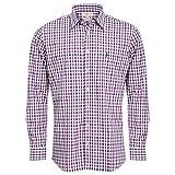 Almsach Camicia da Uomo per Costume Tradizionale Bavarese Slim-Fit Slim-Line a Quadretti, Disponibile in Diversi Colori Viola/Jeans. S