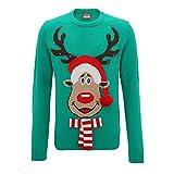 Christmas Shop Herren 3D-Pullover mit Rudolph-Design und LED-Lichtern (L) (Grün)