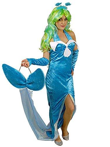 Meerjungfrau Nixe Damenkostüm Wasser Elfe blau 40/42