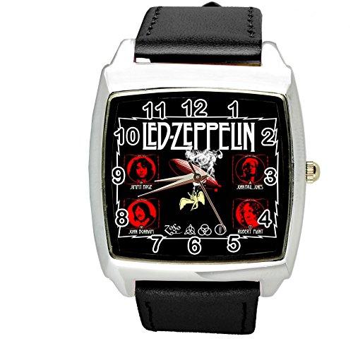 taport® Armbanduhr LED ZEPPELIN quadratisch QUARZ schwarz Echt Leder Band + Gratis Ersatz Batterie + Gratis Geschenkverpackung -