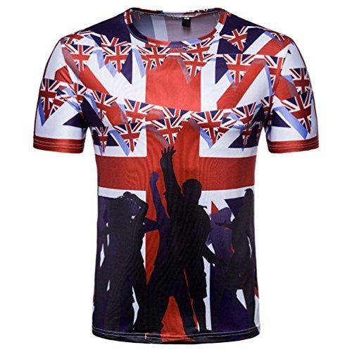 Fußball Cowboy-kragen (GreatestPAK Kurzarm T-Shirt Herren Fußball Print Tee Sommer Top Bluse britische Fans,Rot,XL)