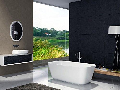 Freistehende Badewanne aus Mineralguss CUBE STONE weiß - 180 x 85 cm - Solid Stone (Stone Freistehende Badewanne)