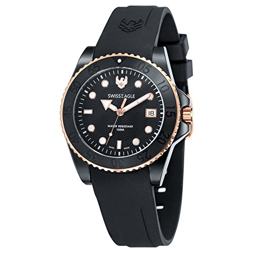 Swiss Eagle Watch with Swiss Quartz Dive Black 41 mm