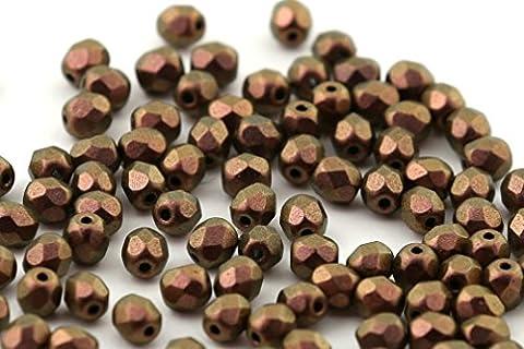 50 Preciosa Glasschliffperlen 3mm Feuerpoliert Facettiert Rund TSCHECHISCHE Kristall Perlen Farbauswahl (Metallic Kupfer)