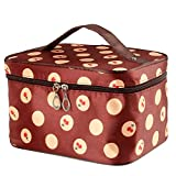 Discoball Lady Women Cosmetic Makeup Toiletry Travel Wash Bag Holder Mirror Case Organizer(Coffee + Cherry)