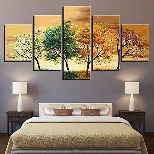 Agreey HD Leinwand Modular Pictures 5 Panels Vier Jahreszeiten Baum Landschaft Poster Moderne Dekoration Wohnzimmer Gemälderahmen, Kein Rahmen, 20X35 20X45 20X55 cm -