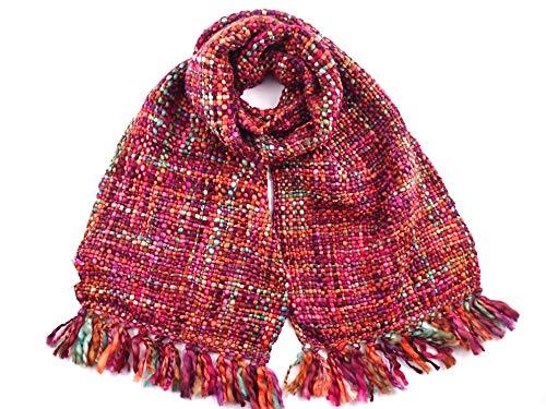 DAMEN WINTER SCHAL SUPER SOFT & WARM - CHUNKY TWEED EFFEKT: erhältlich in 9 modischen Farben, schöne Kontrastfarben, die zu vielen Outfits oder Wintermänteln passen - 30 x 185cm