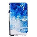 Coque Samsung Galaxy J5 2016, Chreey Étui de Protection en Cuir PU avec Motif Coloré Flip Housse Cas de Téléphone avec Portefeuille pour Samsung Galaxy J5 2016 [Océan bleu]