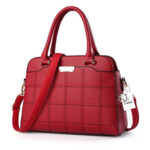 Borse donna di design Yoome Borse a mano e in tartan Borse a mano da donna Borsa a forma di conchiglia - Viola Rosso