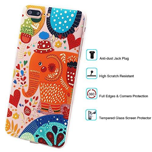 Coque iPhone 7 Plus, TrendyBox Transparent PC Hard Cover avec soft TPU Pare-chocs pour iPhone 7 Plus avec verre trempe film de protection (Fille et Swan) 111