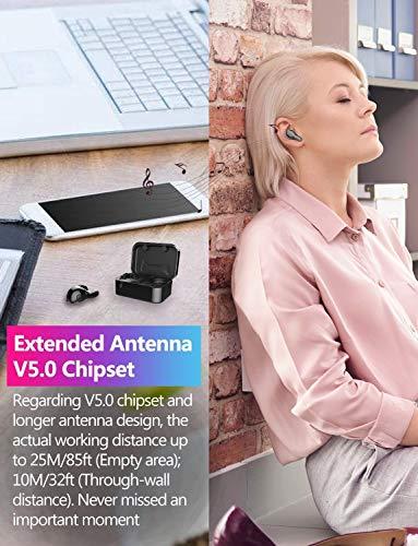 Bluetooth Kopfhörer in Ear V5.0, Sport Kabellos/Wireless Kopfhörer, Staub/Wasserdicht IPX6, 77 Stunden Standby-Zeit, 30 Minuten Schnellladung, Noise Cancelling Ohrhörer Für alle Bluetooth-Geräte - 7