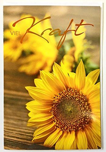Grußkarte Viel Kraft: Sonnenblumen